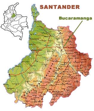 Santander colombia south america for Mapa santander sucursales